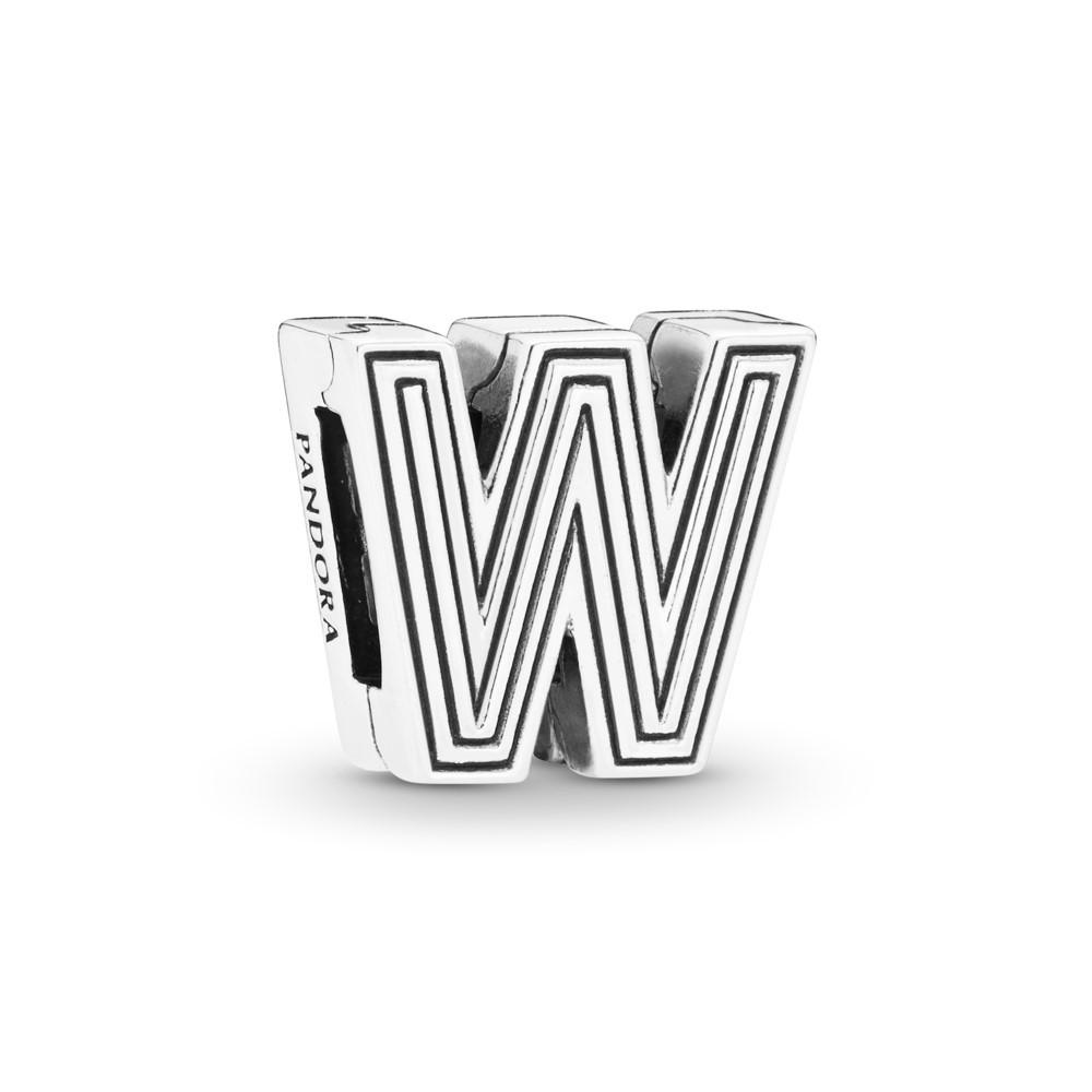 קליפס כסף שטוח האות W
