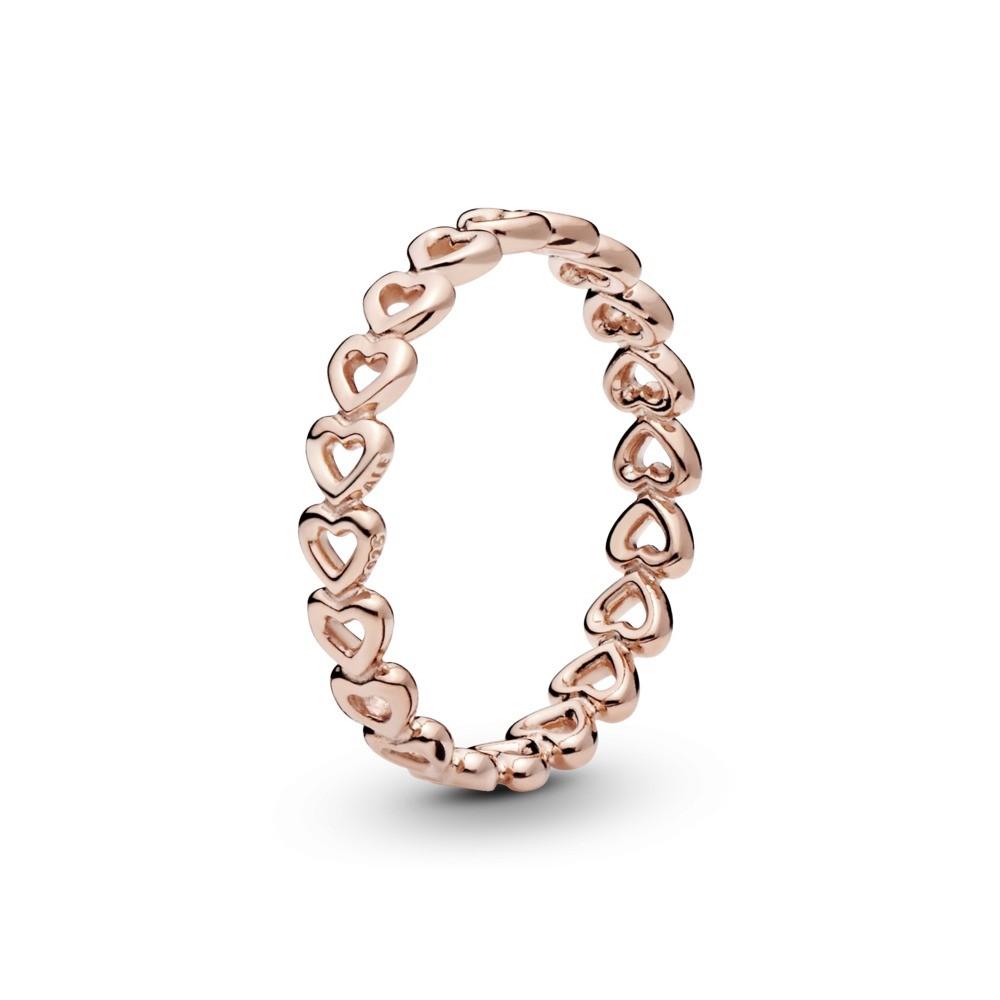 טבעת PANDORA רוז לבבות חלולים עוקבים