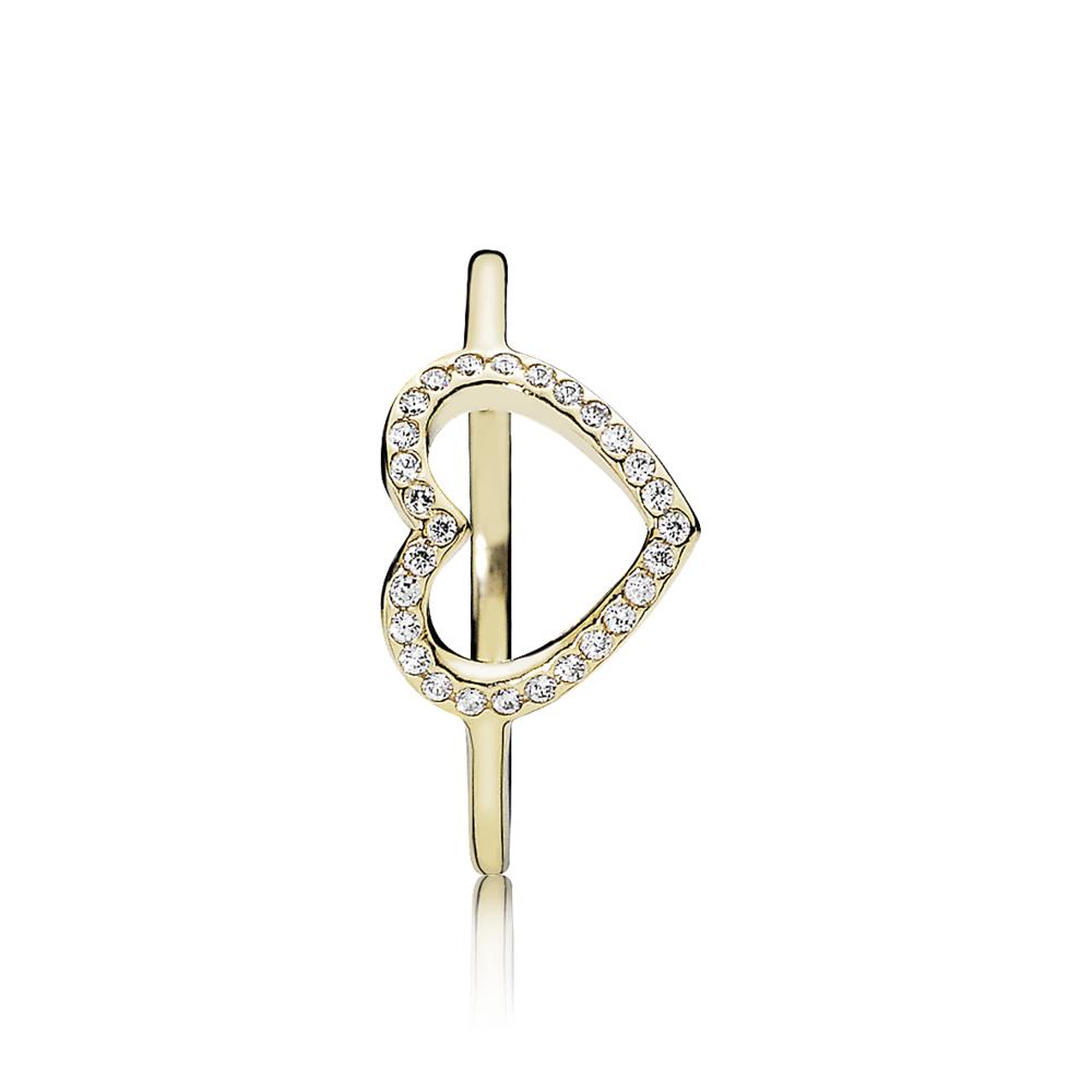 טבעת זהב לשבות את ליבך משובצת בזרקונים