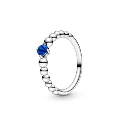 טבעת כסף מחרוזת לב כחול ים