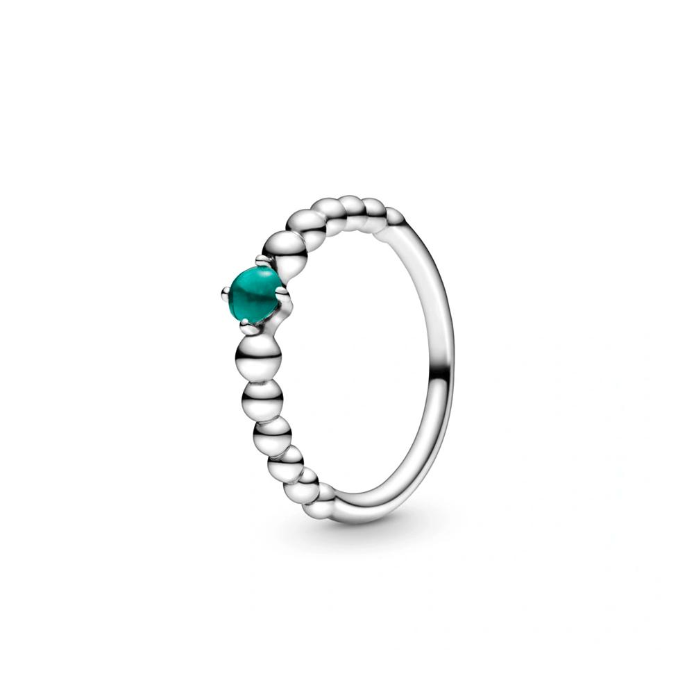 טבעת כסף מחרוזת לב ירוק עד
