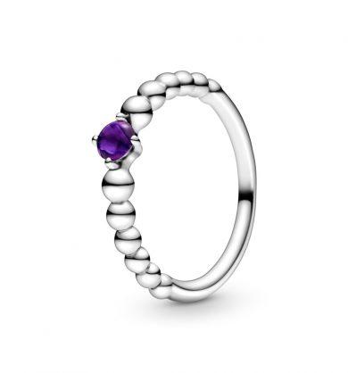 טבעת כסף מחרוזת לב סגול