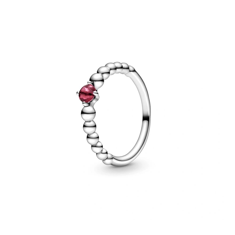 טבעת כסף מחרוזת לב אדום להבה