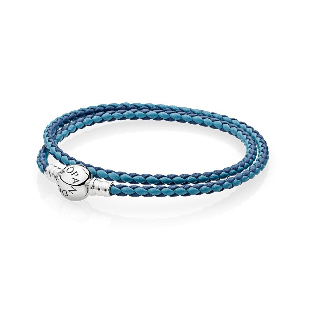 צמיד עור כחול משולב כפול עם סוגר מעוגל