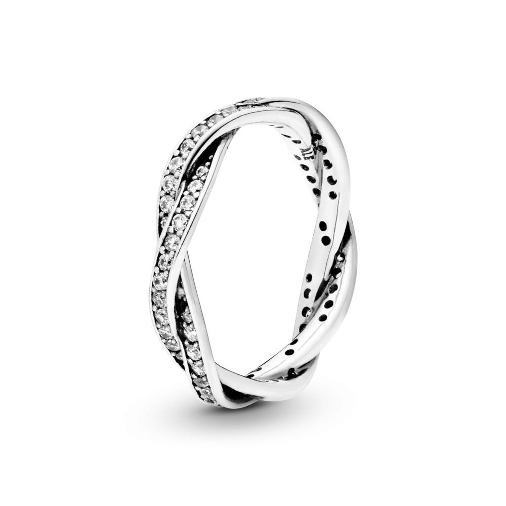 טבעת קלועה מכסף סטרלינג בשיבוץ זרקונים