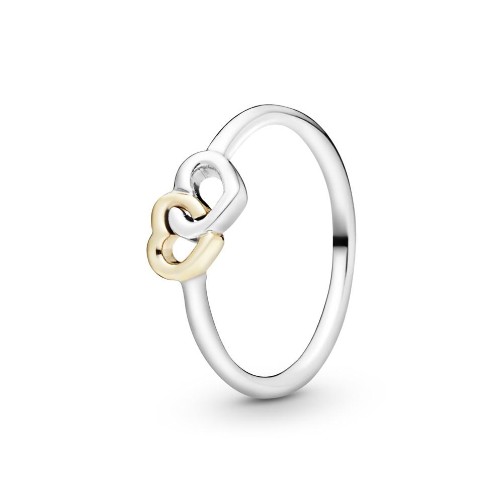 טבעת כסף לב אל לב בשילוב זהב 14K