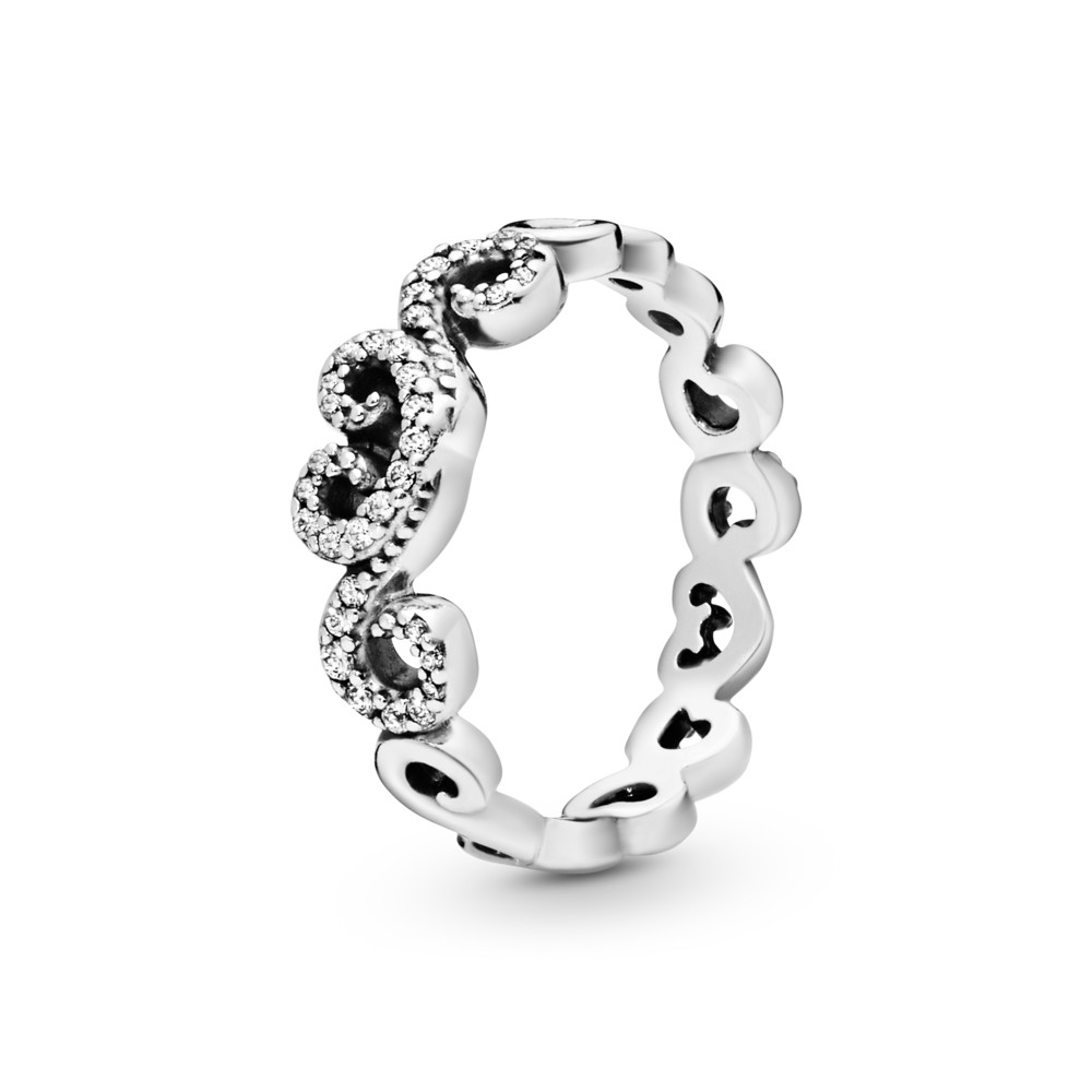 טבעת כסף לבבות מפותלים