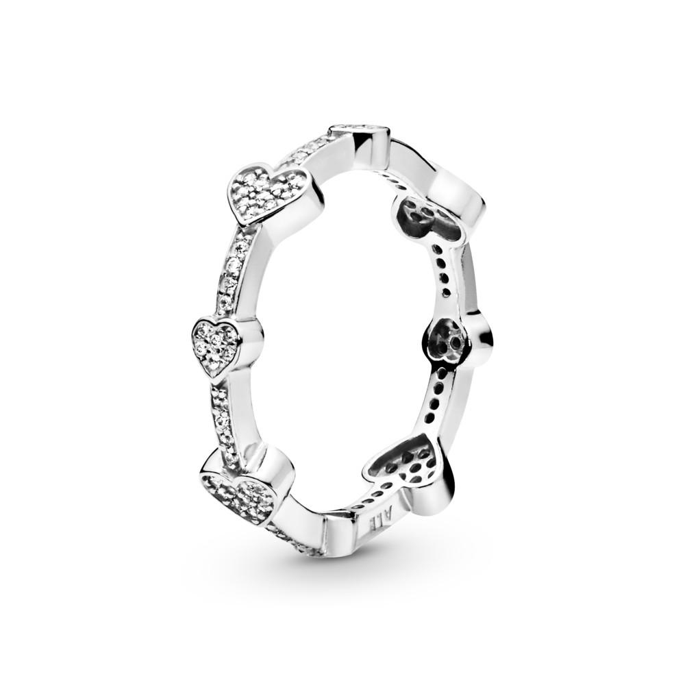 טבעת כסף לבבות קסומים