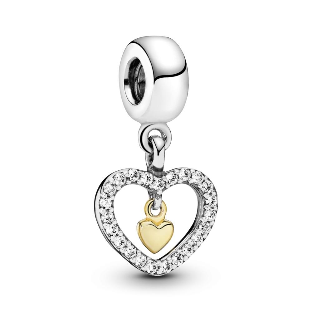 תליון כסף לב בשיבוץ זרקונים עם לב זהב 14K במרכז