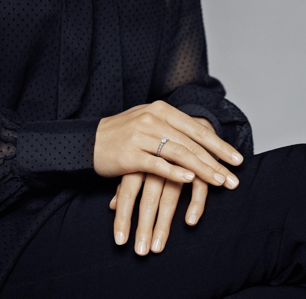 טבעת כסף מחרוזת לב כחול אקווה