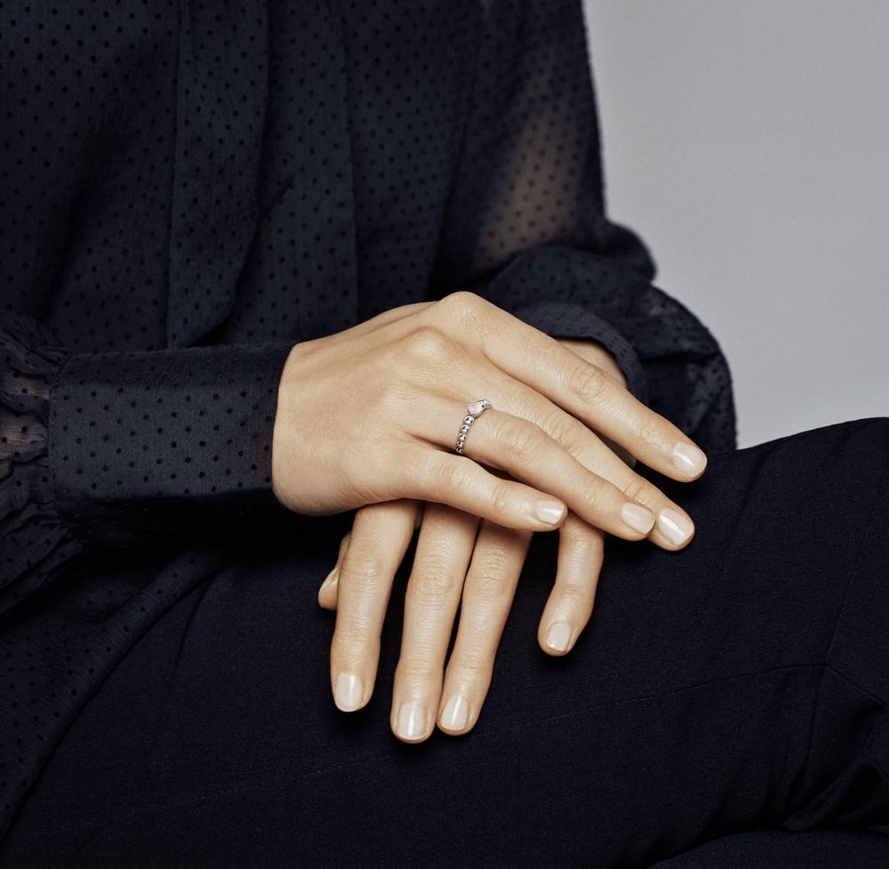 טבעת כסף מחרוזת לב ורוד מיסטי