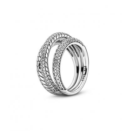 טבעת כסף פאווה סטייטמנט משולש