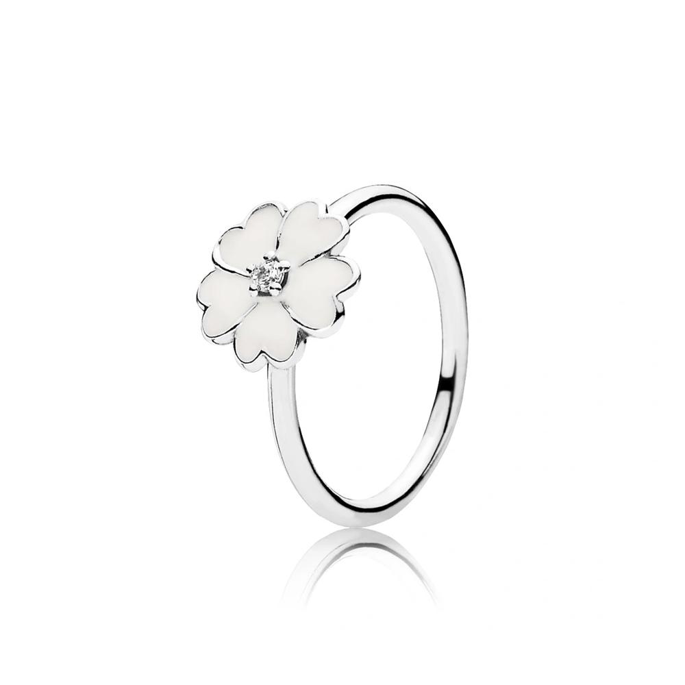 טבעת כסף פריחת הפרימרוז בציפוי אמייל לבן