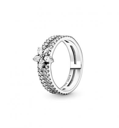 טבעת כסף כפולה פתית שלג