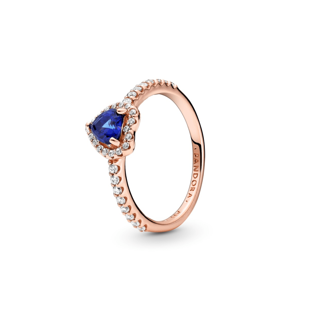 טבעת רוז לב כחול נוצץ מוגבה