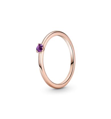 טבעת רוז סוליטייר סגול רויאל