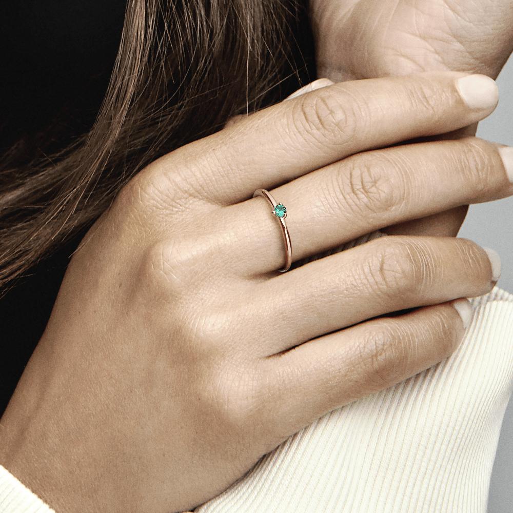 טבעת רוז סוליטייר ירוק